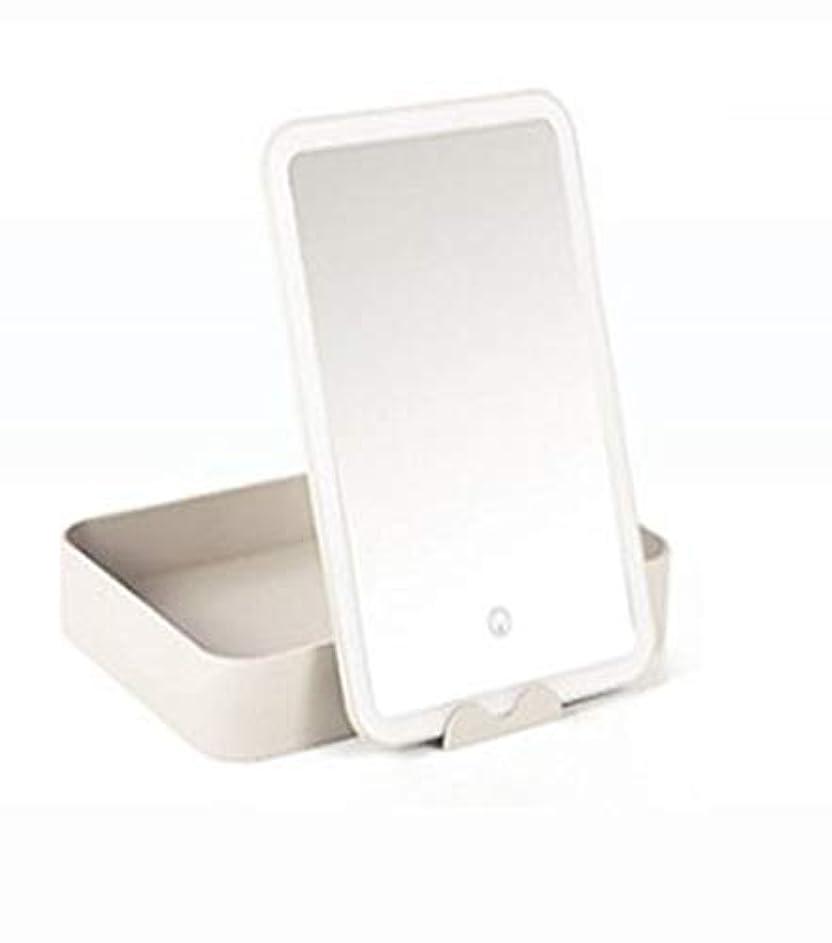 期限切れ不快おとこ化粧鏡、大容量収納ボックス化粧ギフト付き白色LEDライト化粧鏡