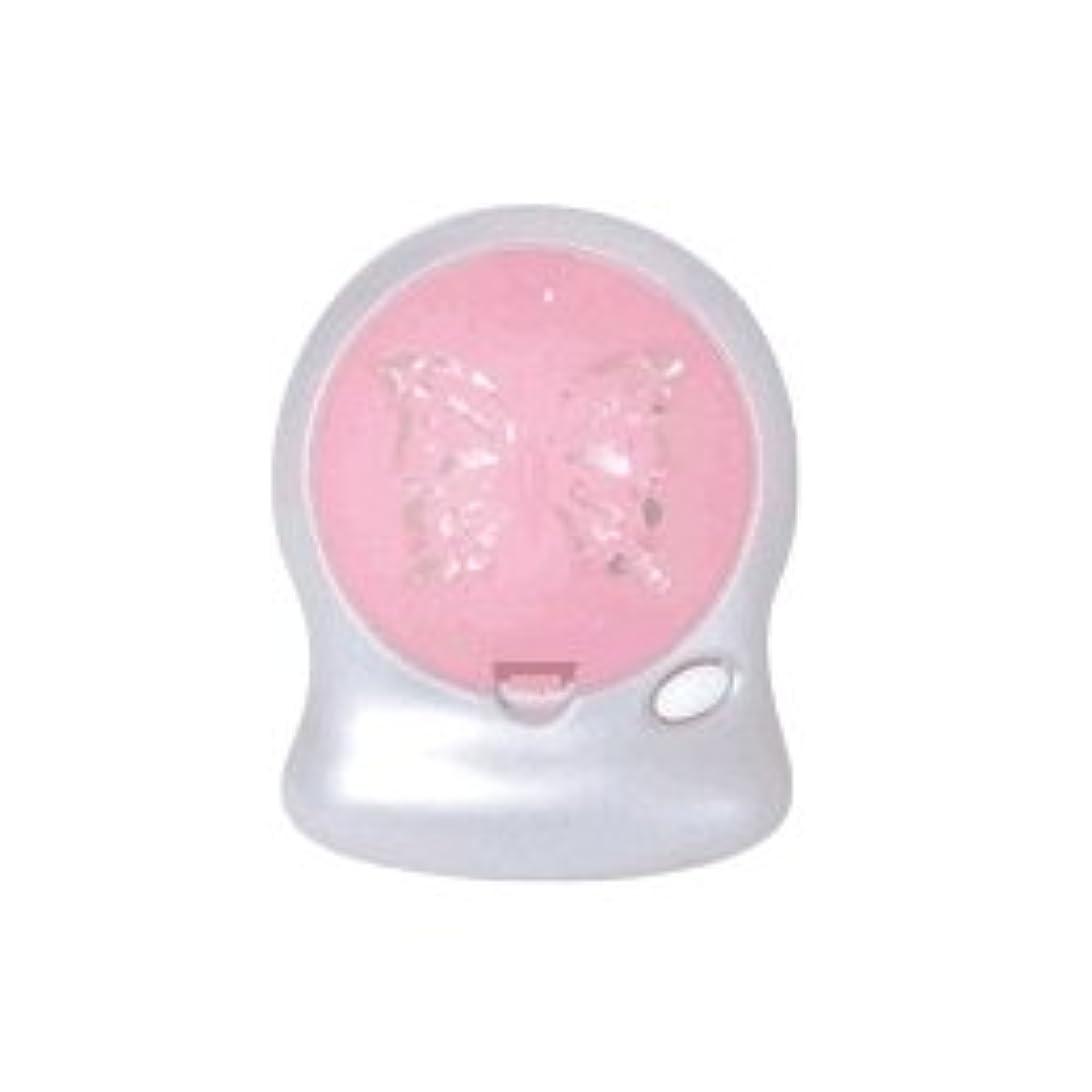 開いた休憩するマークされたアロマブリーズ Nova t Jill (蝶柄) ピンク オフタイマー付モバイルファン式芳香器