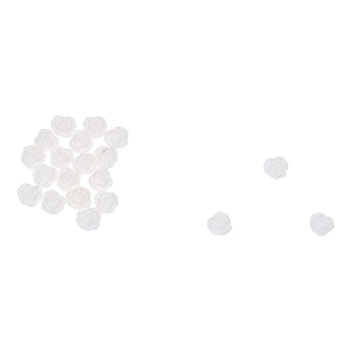 宣言咲く強制的ACAMPTAR ACAMPTAR(R)20×アクリル 3D 白い花 スライスネイルアートヒント UVジェル DIYデコレーション