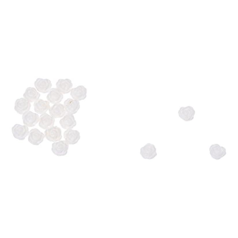 円周電気わがままACAMPTAR ACAMPTAR(R)20×アクリル 3D 白い花 スライスネイルアートヒント UVジェル DIYデコレーション
