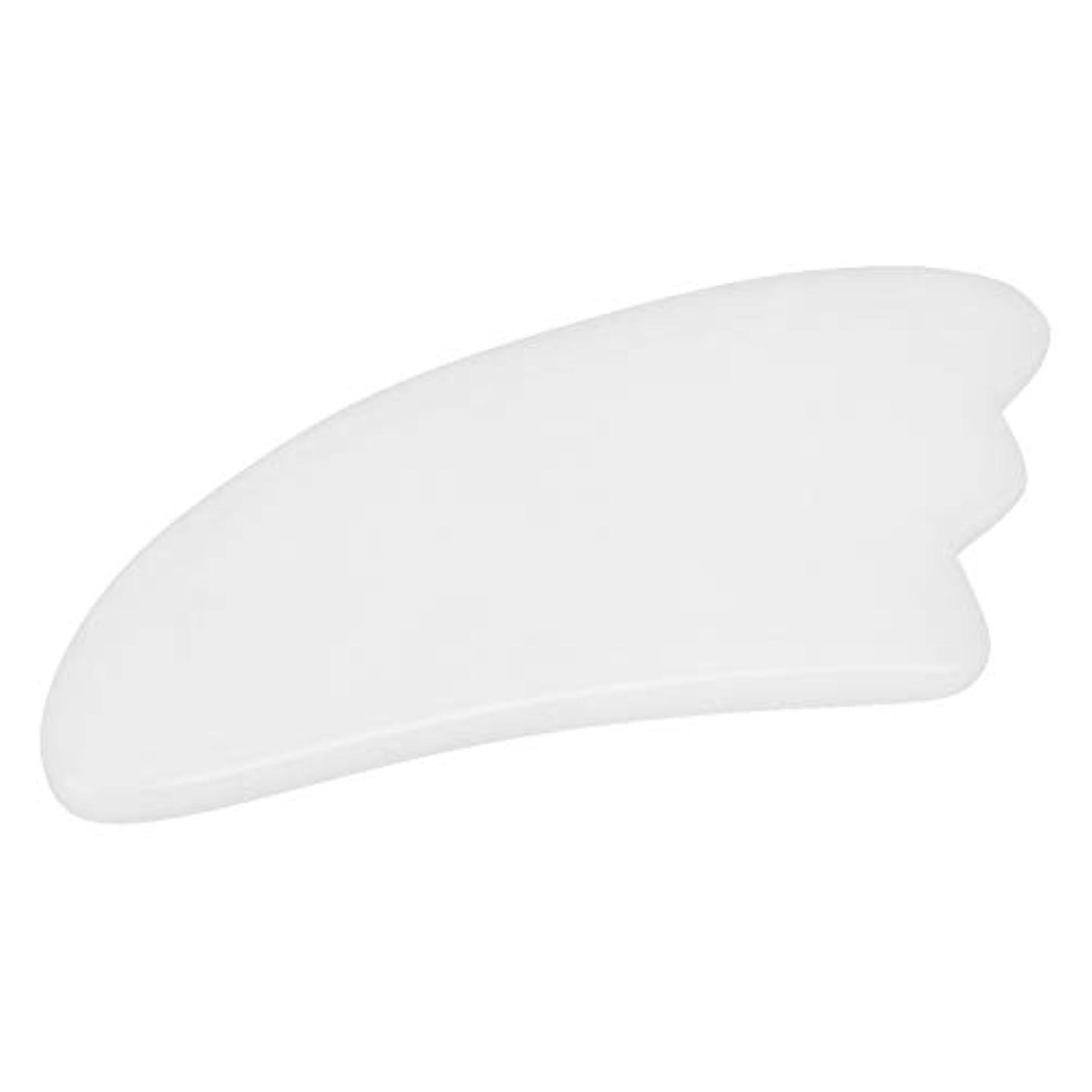 機構文字大人カッサ板 - Delaman かっさ プレート、羽型、マッサージ器 、天然石、血液の循環を促進し、美顔、ホワイト