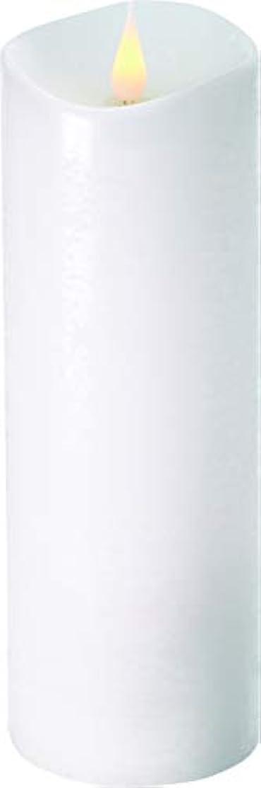 焼く居心地の良い合併症エンキンドル 3D LEDキャンドル ラスティクピラー 直径7.6cm×高さ23.5cm ホワイト