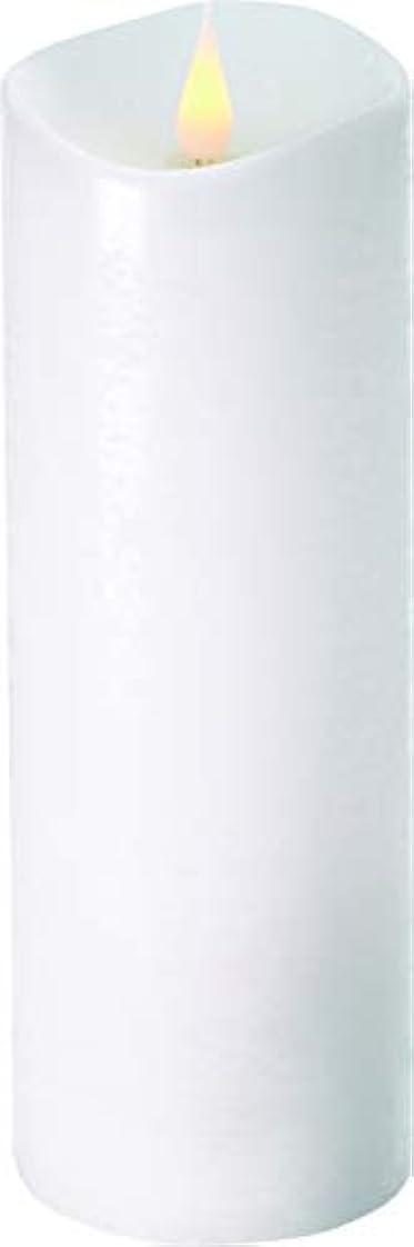 ジャーナル狼定期的にエンキンドル 3D LEDキャンドル ラスティクピラー 直径7.6cm×高さ23.5cm ホワイト