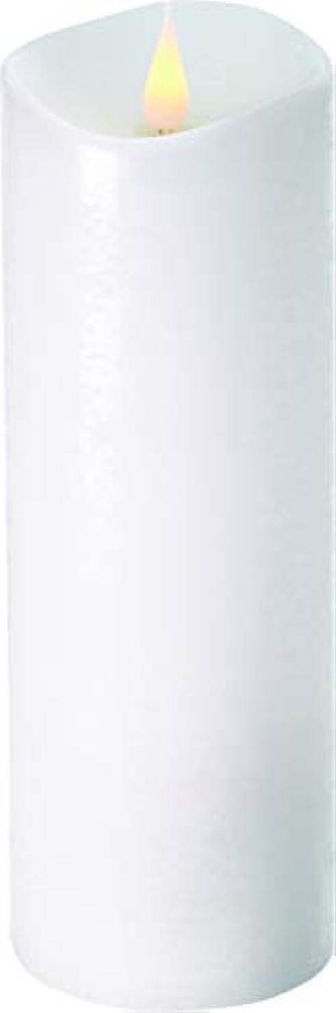 急ぐ解決する外部エンキンドル 3D LEDキャンドル ラスティクピラー 直径7.6cm×高さ23.5cm ホワイト
