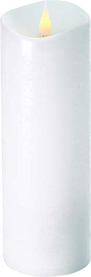 慣らす自分のために占めるエンキンドル 3D LEDキャンドル ラスティクピラー 直径7.6cm×高さ23.5cm ホワイト