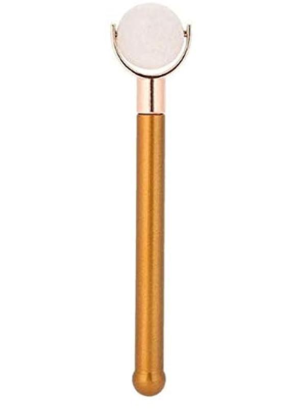 汚れるパイルピラミッドEcho & Kern 翡翠フェイスローラー顔用翡翠ローラー Durable Jade Purple Roller metal handle Spa Acupunture Massage tool (白いジェイド)