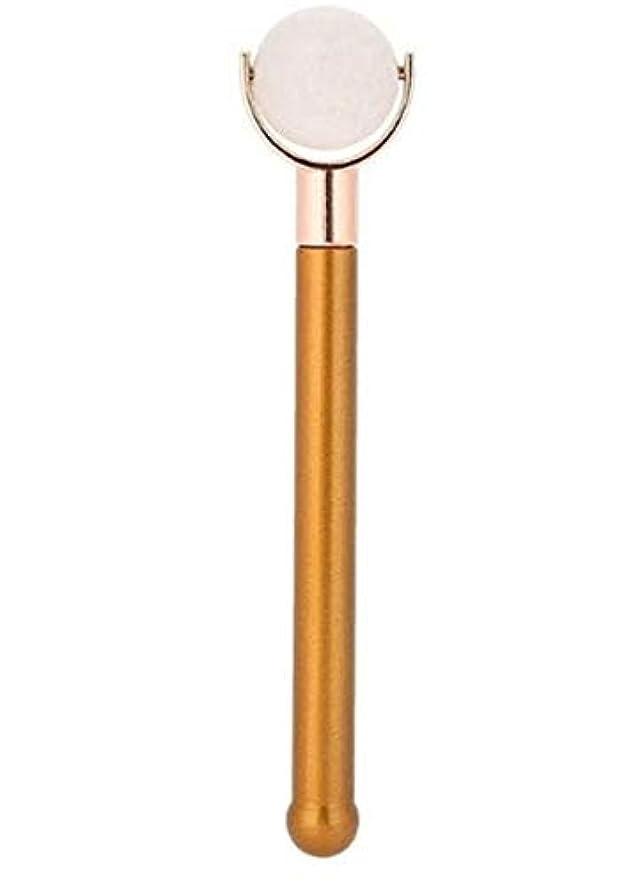 スクラップ資金謝るEcho & Kern 翡翠フェイスローラー顔用翡翠ローラー Durable Jade Purple Roller metal handle Spa Acupunture Massage tool (白いジェイド)