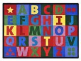 Joy Carpets Kid Essentials Early Childhood Oversize Alphabet Rug, Multicolored, 5'4 x 7'8 by Joy Carpets