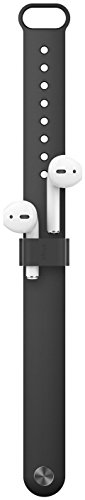AirPods ホルダー シリコン 製 リスト バンド 収納 Apple Watch 38mm/42mm 各種 ベルト 対応 落下防止 アクセサリー elago WRIST FIT [ Apple Air Pods mmef2j/a エアーポッズ ] ブラ