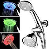 Luminex by PowerSpa 7-Colour 24-Setting LED Shower Head Combo with Air Jet LED Turbo Pressure-Boost Nozzle Technology. 7 vibrant LED colours change automatically every few seconds