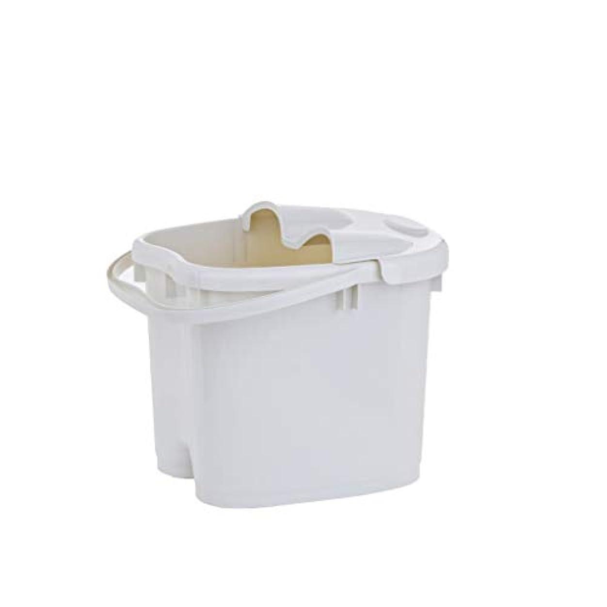 おしゃれな汚れるケーブルカーBB- ?AMT携帯用高まりのマッサージの浴槽のふたの熱保存のフィートの洗面器の世帯が付いている大人のフットバスのバケツ 0405 (色 : 白, サイズ さいず : 30.5cm high)