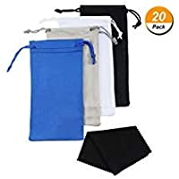 Blulu 16 Pieces Quality Microfiber Sunglasses Pouch with Cleaning Storage Bag and 4 Pieces Eyeglasses Cloth
