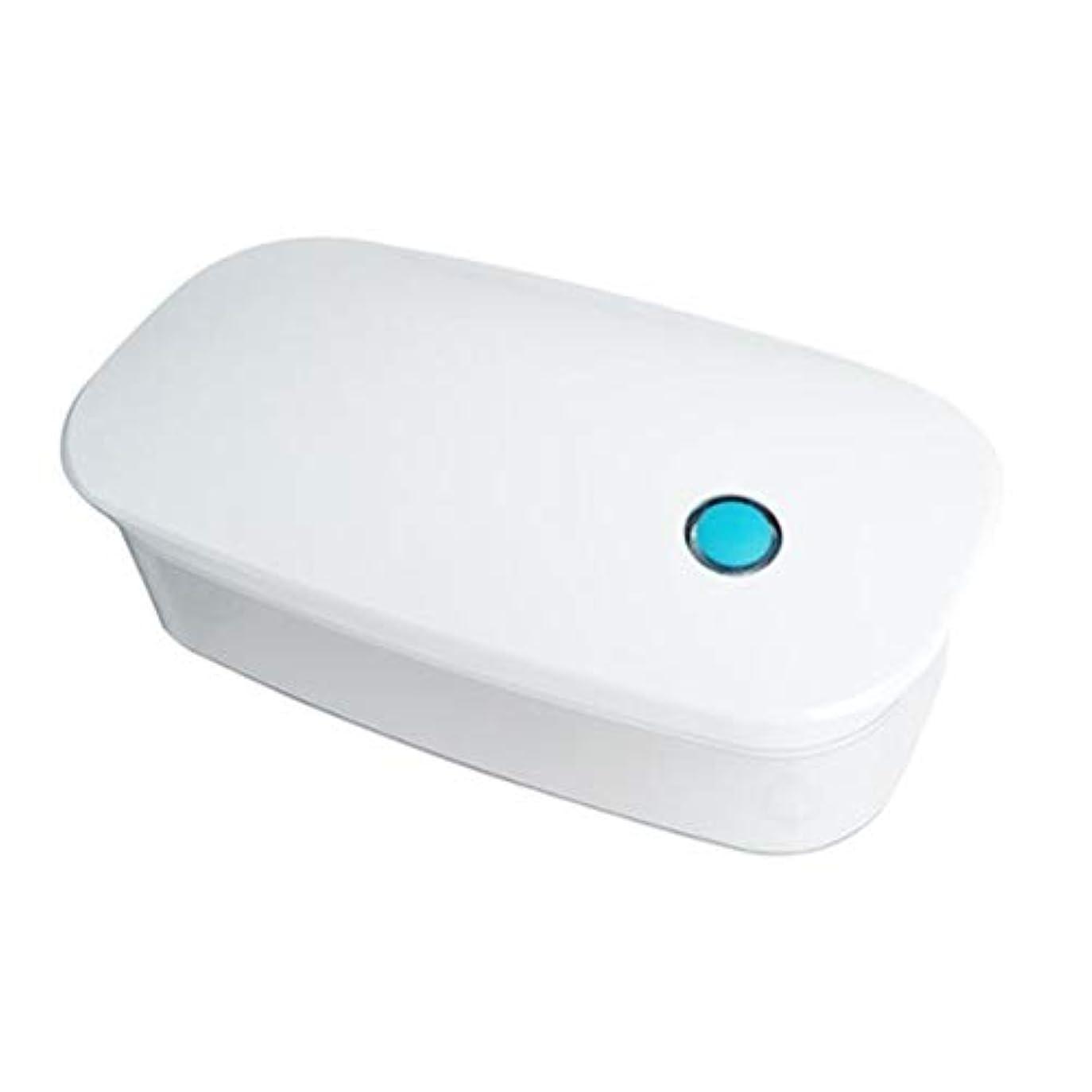 誰レスリングマイナーHeallily コンタクトレンズ滅菌ケースコンタクトレンズクリーニング用ポータブルUV電気消毒ケースホルダー(ホワイト)