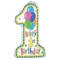 1歳バースデーにぴったり 大きな「1」のパステルバルーン(ヘリウムガス入り)【お誕生日用数字のバルーン、ファーストバースデーパーティーデコレイション】