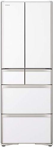 日立 冷蔵庫 430L 6ドア 強化ガラスドア 観音開き 日本製 幅65.0cm 真空チルド R-XG43K XW クリスタルホワイト