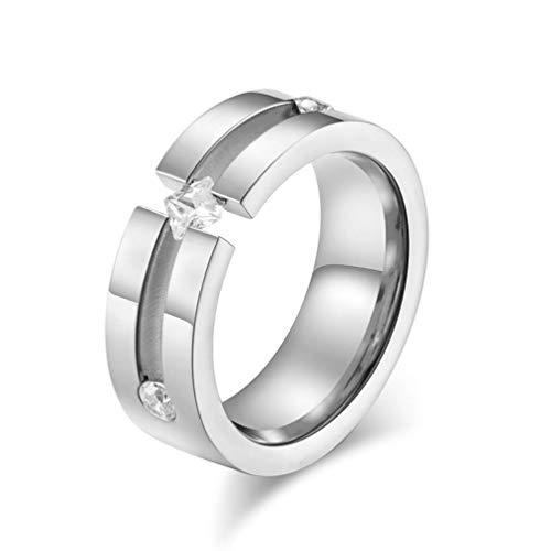 3ec50fe2f1f7 Y-YING サージカルステンレス リング ペアリング (1個売り) 指輪 結婚 指輪 シンプルな正方形のジルコニア ring 16号  サイズが合わないのを避けるように,お客様注文前 ...