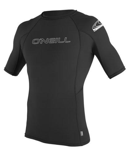 O'Neill Wetsuits Men's Basic Skins UPF 50+ Short Sleeve Rash Guard, Black, Large