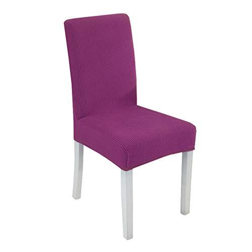ILIJUN 1枚 4枚 セット 椅子カバー チェアカバー 伸縮素材 選べる 8色 (4枚, パープル)