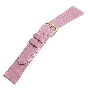 TOPMOA (トップモア) 時計バンド 牛 (ワニ型押・カラー) ピンク18mm 04421
