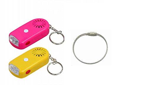 防犯ブザー ( ライト 付 ) 2個 + ワイヤーリング ランドセル や バッグ に! YP