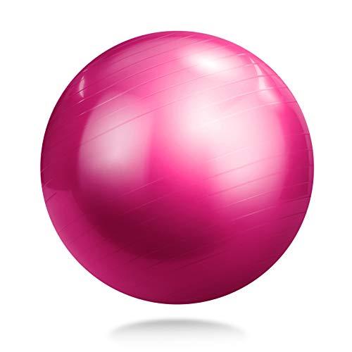 YACONE バランスボール 65cm ヨガ ボール ヨガ バランスボール エクササイズボール トレーニング アンチバースト仕様 バランスボール 腹筋 トレーニング エアーポンプ付き ダイエット器具 運動不足解消 ピンク