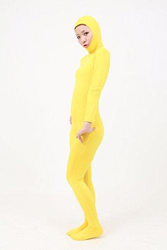 顔部分が開いている 全身タイツ コスチューム 黄色 メンズ Lサイズ SS03-2H