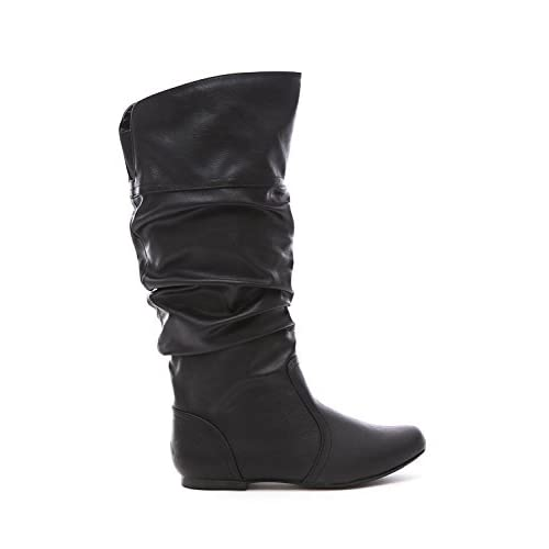 Qupid Women's Leatherette Basic Slouchy Knee High Flat Boot BLACK 6.5 [並行輸入品]