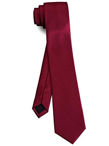 【ダブリューアンドエム】 W&M メンズ ビジネス 細 ネクタイ ナロータイ 洗える ネクタイ 全30柄 ( 無地 ソリッド ( ワイン レッド 赤 ) )