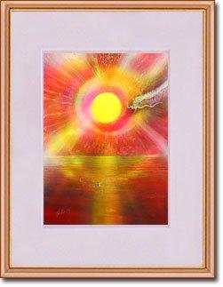 新月紫紺大アート 太陽のパワー運気アップ/満願成就/金運/財運/風水/龍の絵 「太陽の龍」 ナチュラルブラウン木製額装