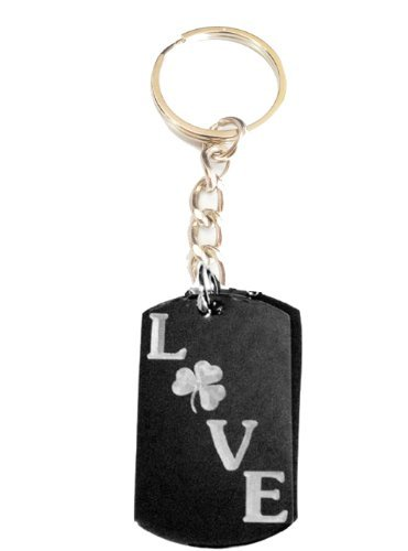 Irish Four Leaf Lucky Clover Love Logo Symbols - Metal Ring Key Chain Keychain [並行輸入品]