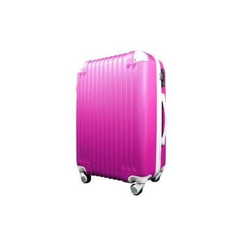 スーツケース/キャリーバッグ 【Lサイズ/大型7~14日】 TSA搭載 軽量 ファスナー ショッキングピンク×ホワイト(白)