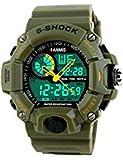 新しいブランドモールマルチ機能デジタルLEDクォーツ時計防水電子スポーツ腕時計( green1)