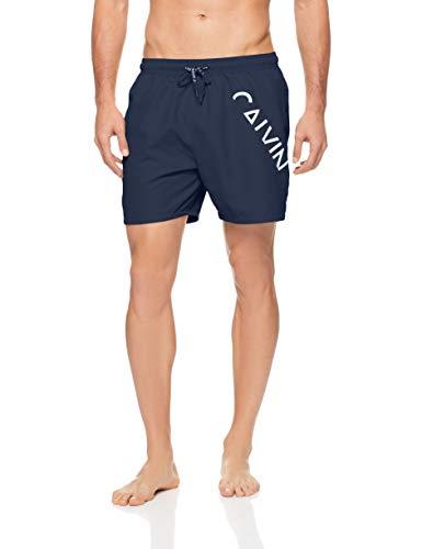 Calvin Klein Men's Core Diagonal Logo Swim Shorts, Blue Shadow, Large