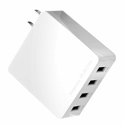 エレコム 充電器 ACアダプター 【iPhone & iPad & Android & IQOS & glo 対応】折畳式プラグ USBポート×4 (4A出力) 長寿命設計 ホワイト EC-AC4U001WH
