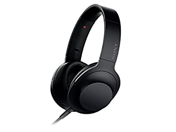 ソニー SONY ヘッドホン h.ear on MDR-100A : ハイレゾ対応 密閉型 折りたたみ式 ケーブル着脱式/バランス接続対応 リモコン・マイク付き チャコールブラック MDR-100A B