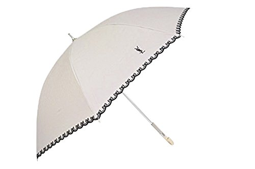 (イヴサンローラン)Yves Saint Laurent  リボン刺繍&ピンキングカット YSLロゴ刺繍 一級遮光 日傘(長傘) /ベージュ×黒
