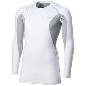 [テスラ] オールシーズン 高機能メッシュ 長袖 ラウンドネック スポーツシャツ [UVカット・吸汗速乾] コンプレッションウェア メンズ MUD71 V-MUD71-WTL(ホワイト/ライトグレー) 日本 XXXL (日本サイズ3L相当)