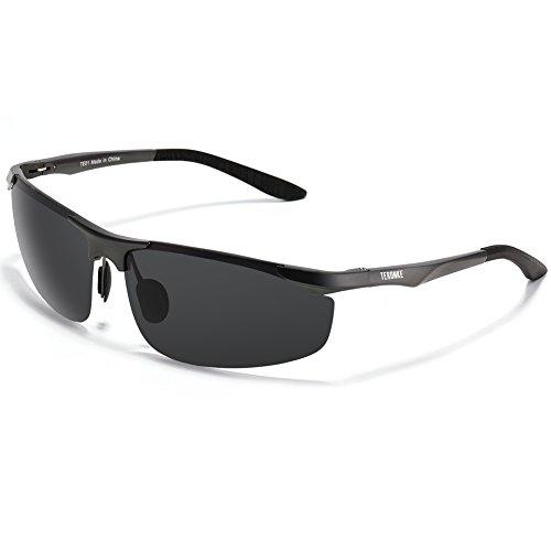 TERONKE 偏光レンズ スポーツサングラス 超軽量 アルミニウム&マグネシウム合金フレーム UV400 紫外線カット スクエア型 運動メガネ ジョギング/野球/テニス/自転車/ゴルフ/釣り/ドライブ/スキー (グレー)