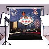laeacco 6x 6ftビニール背景写真背景にようこそFabulous Las Vegas Nevada Fireworks Lighted Sign City Night View Landscape旅行ウェディングホリデーパーティーデコレーションバックドロップ