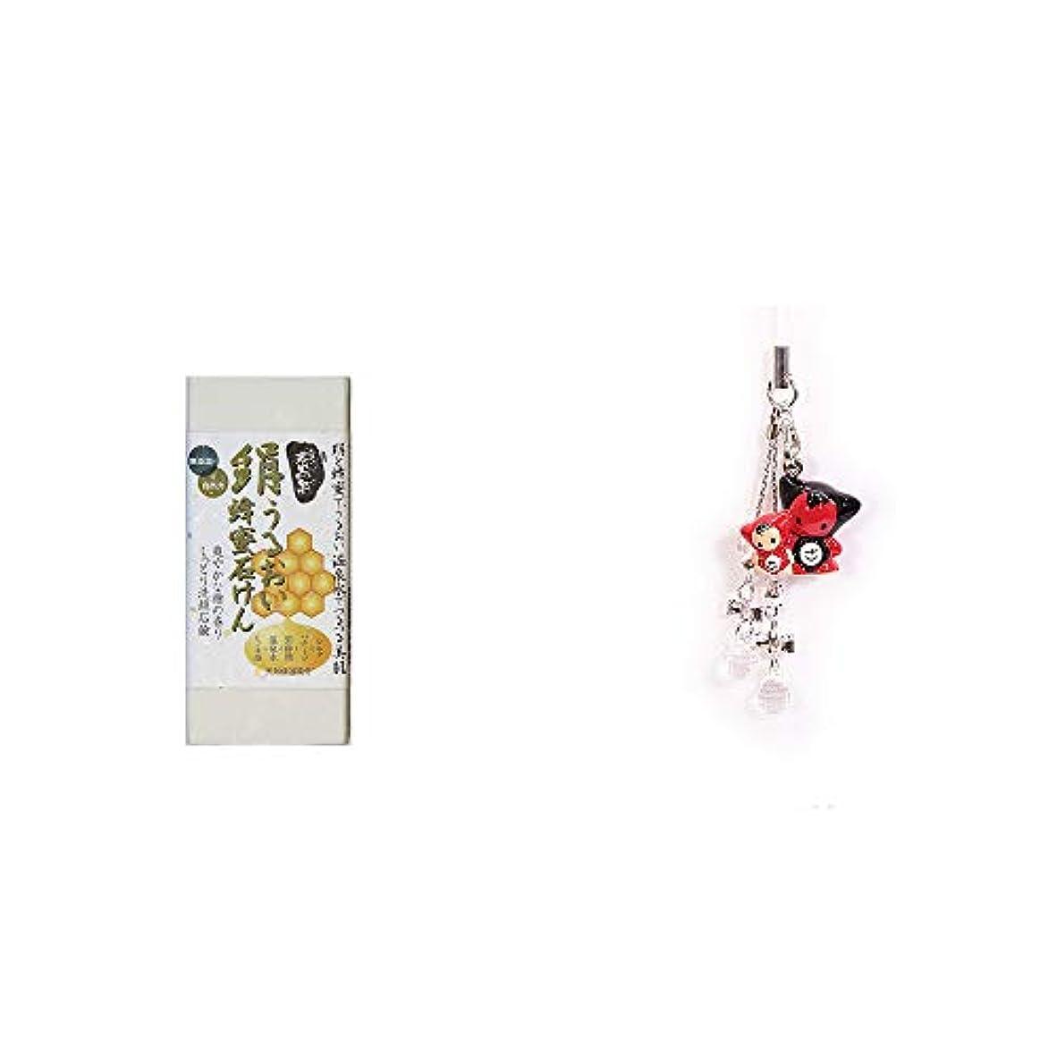 印をつける数除去[2点セット] ひのき炭黒泉 絹うるおい蜂蜜石けん(75g×2)?さるぼぼペアビーズストラップ 【クリア】/縁結び?魔除け//