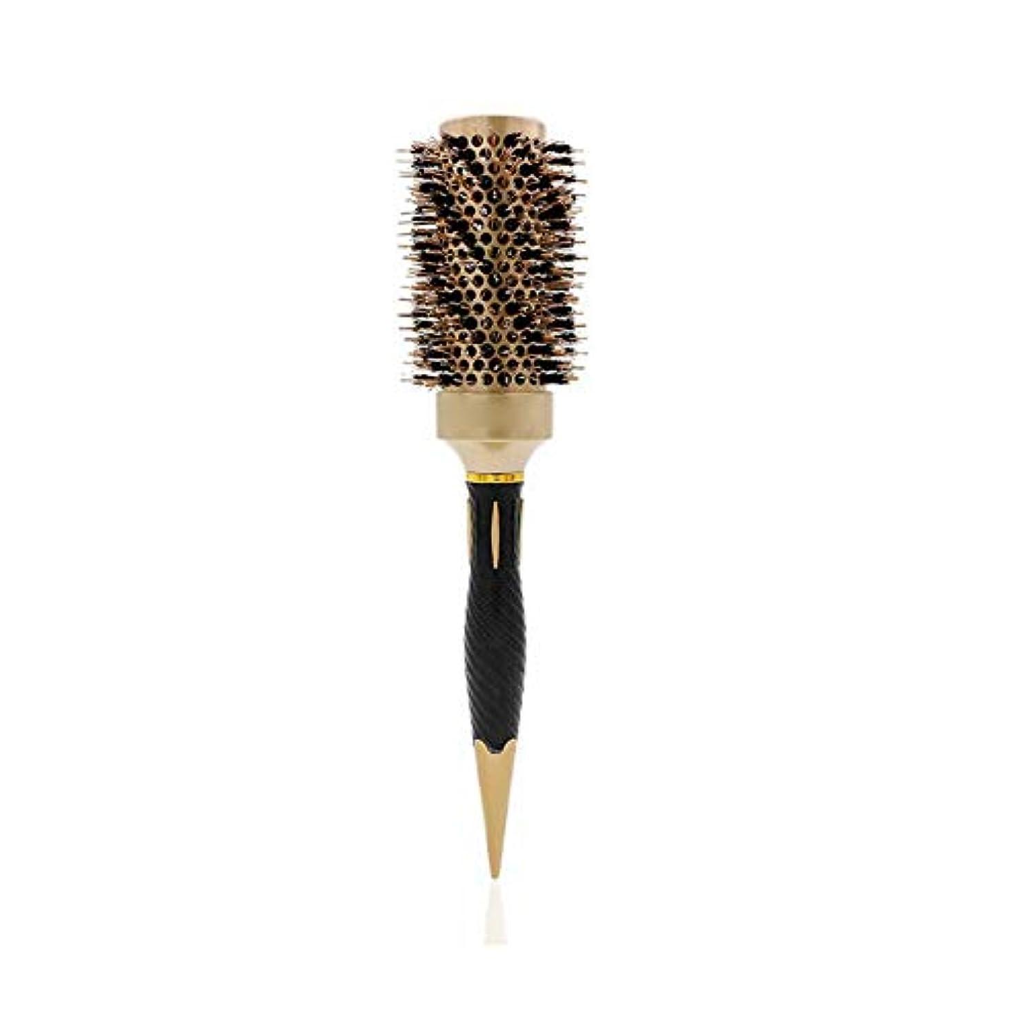国勢調査スコットランド人記者丸いヘアブラシは、セラミック円筒加熱ローラ櫛サブエアチューブを43ミリメートルヘアサロンヘアドライヤー毛
