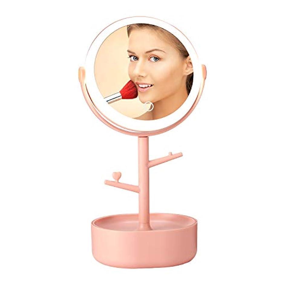 円形の日光セマフォLED化粧鏡 卓上ミラー 鏡 卓上鏡 収納ボックス付き 360度回転 充電式 サードギア明るさ調節可 USB給電 (ピンク)