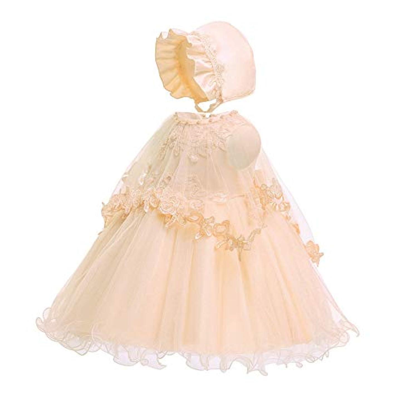 タンクマリナー先見の明BOBIDYEE 女の赤ちゃんバプテスマドレスレースの王女のドレス、3ピースセット刺繍花メッシュバッドシルクノースリーブワンピースドレスと糸と帽子 (色 : シャンパン, サイズ : 3M)