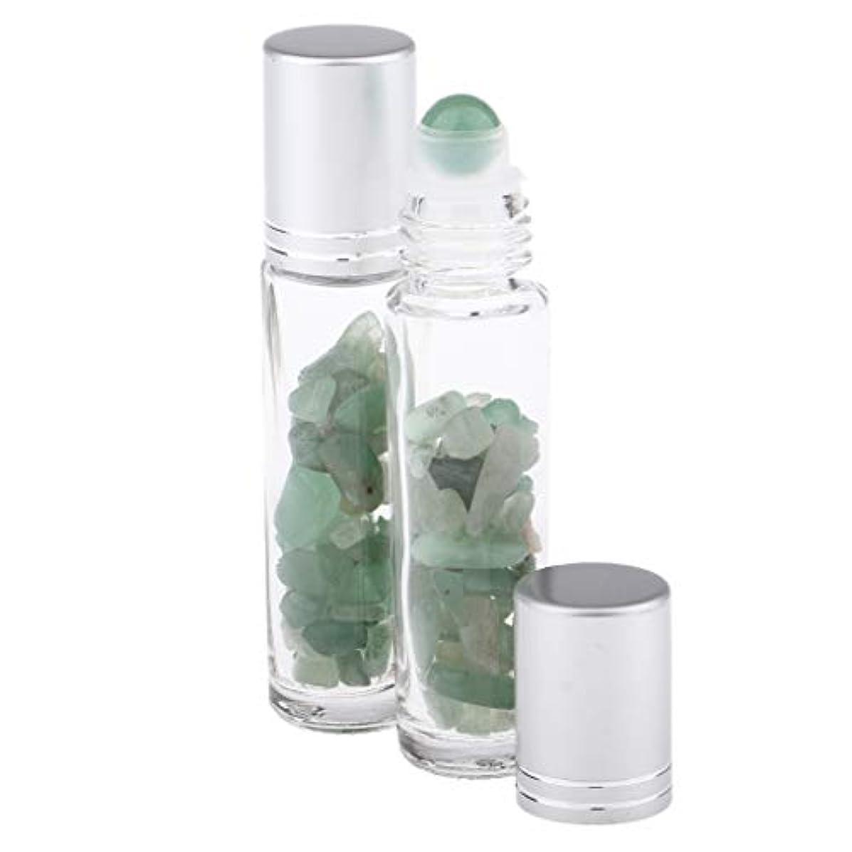 パネルその後パネル10ML ガラスボトル ロールオンボトル 天然石 香水ボトル 精油瓶 アトマイザー 詰替え 2個 - グリーンアベンチュリン