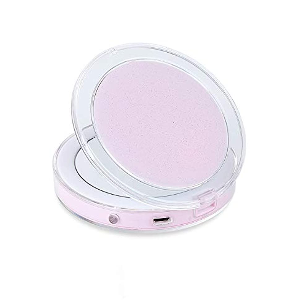 バウンド同情ささいなポケット反射鏡照明付きの旅行装飾ミラータッチスイッチ装飾鏡 3 倍ルーペの手持ち式折り畳み式コンパクトミラー LED ランプ