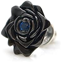 DP-097BSPG/[black beauty] 薔薇/バラ モチーフ ブラックコーティング シルバー ピアス(ブルースピネル合成) DAgDART