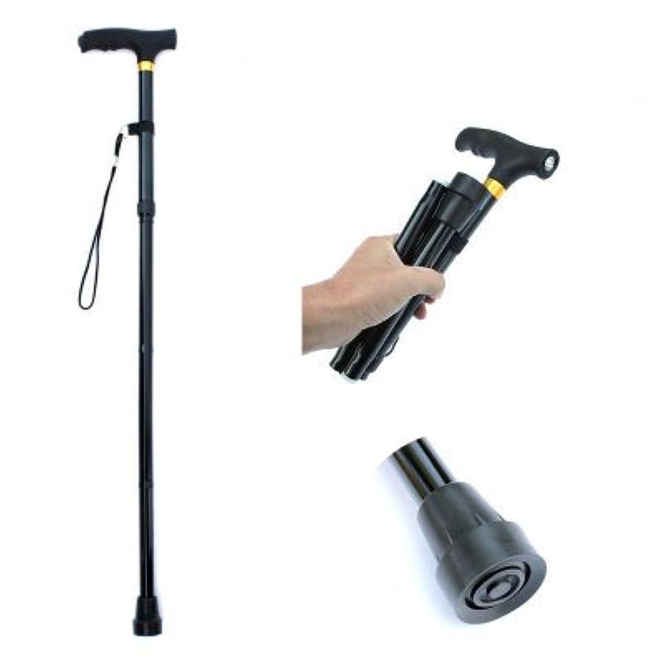 ローブビジュアル創始者伸縮式エルダーウォーキングスティック折りたたみ式杖LEDライトモビリティウォーカーアンチスキッドアルミ合金松葉杖ブラック