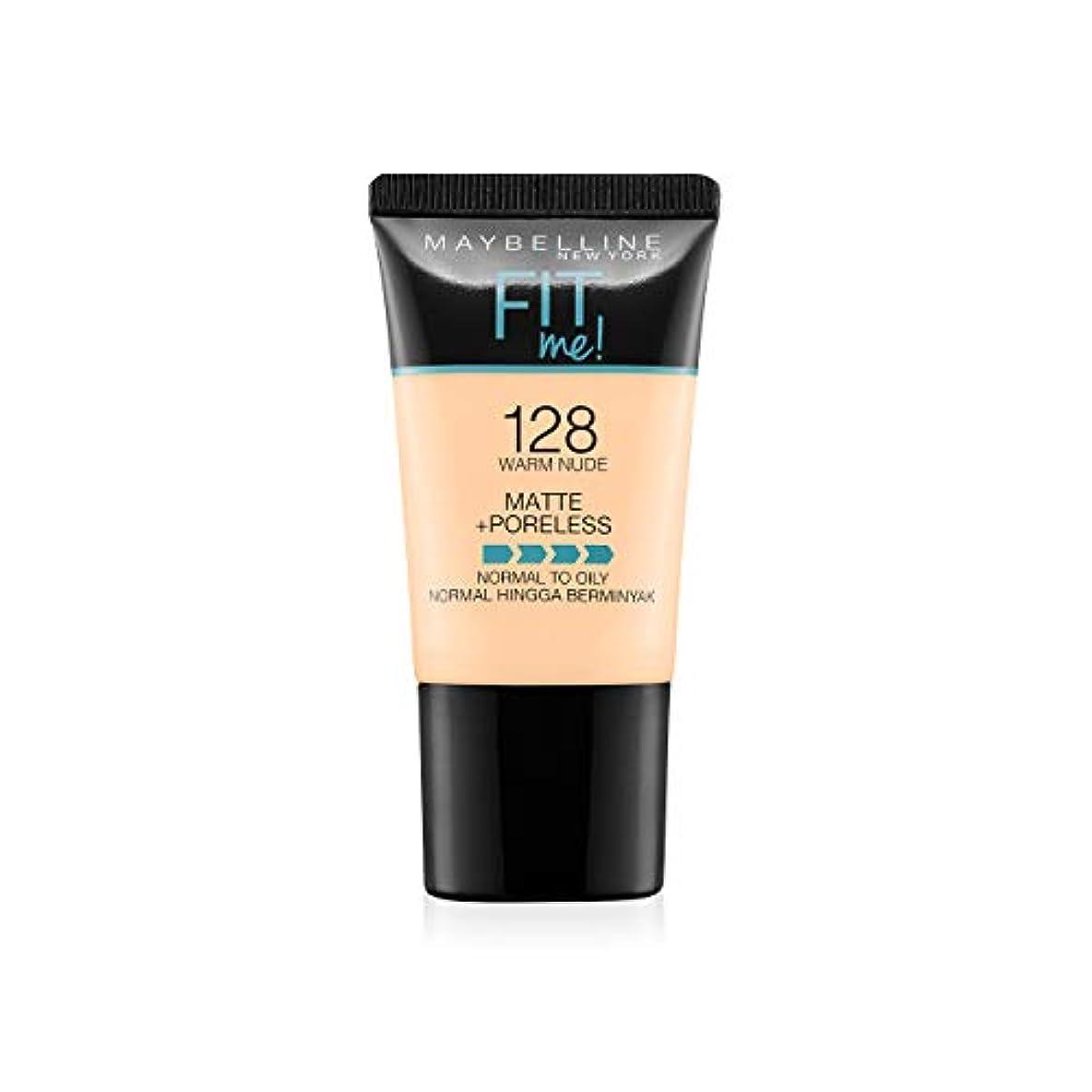 懸念エキサイティング共和国Maybelline New York Fit Me Matte+Poreless Liquid Foundation Tube, 128 Warm Nude, 18ml