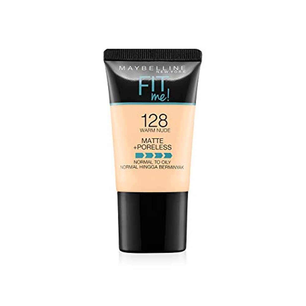 先入観フォルダエミュレーションMaybelline New York Fit Me Matte+Poreless Liquid Foundation Tube, 128 Warm Nude, 18ml