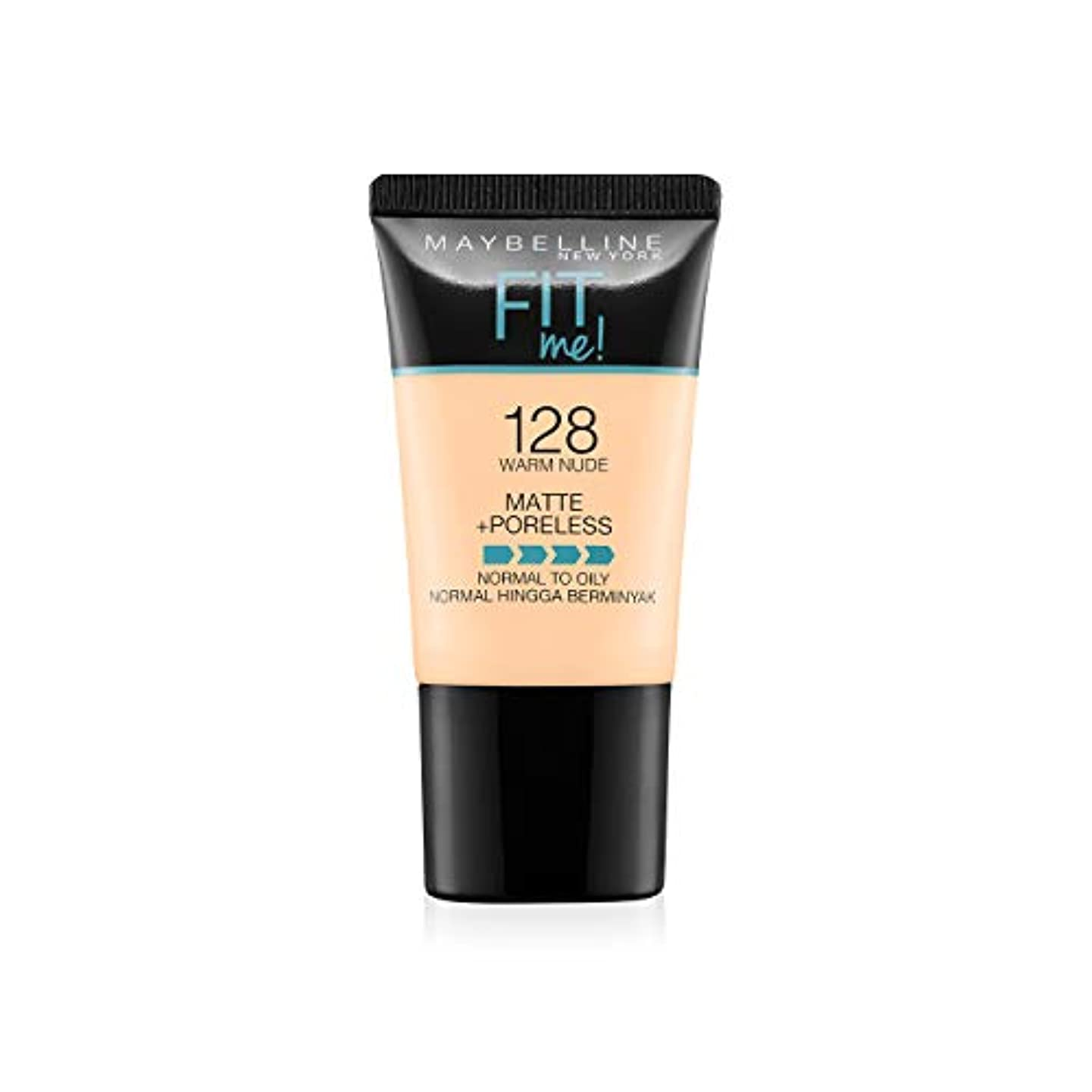 分解する本物薬局Maybelline New York Fit Me Matte+Poreless Liquid Foundation Tube, 128 Warm Nude, 18ml